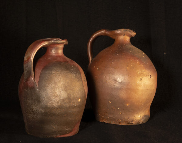 two Rustic French redware jug