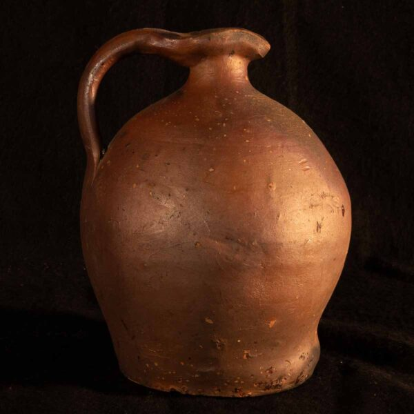 small rustic French redware jug